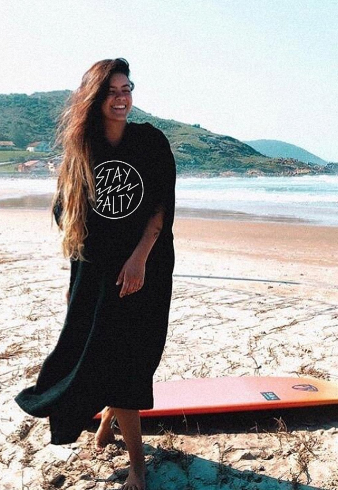 Poncho Stay Salty Adulto - Preto