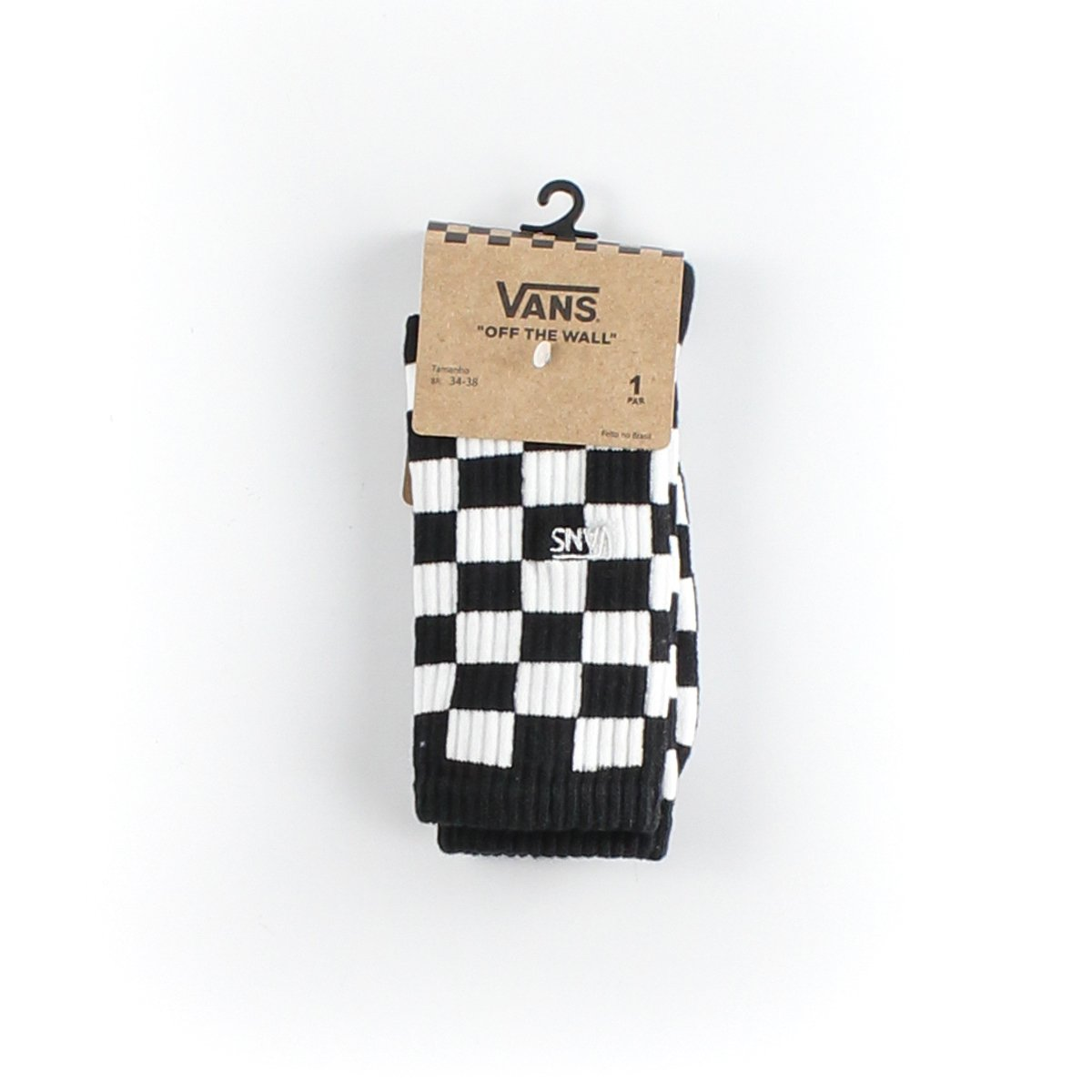MEIA VANS CHECKERBOARD CREW BLACK WHITE