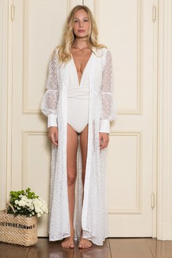 Kaftan Bella Renda Off White