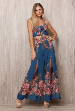 Cropped Blue Floral