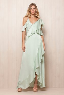 Vestido Pastel Green Fenda Frontal