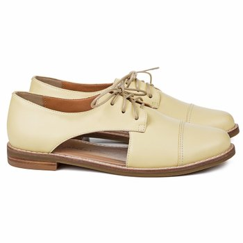 Cut Out Oxford Madeira Couro Amarelo