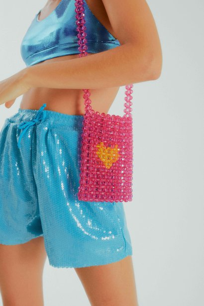 Bolsa Paola Mini SRI Beaded Pink Heart