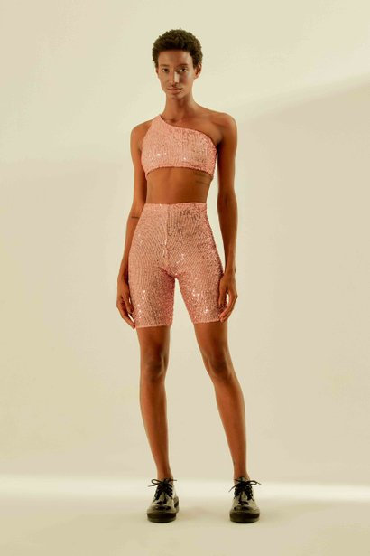Short Biker Paetê Light Pink