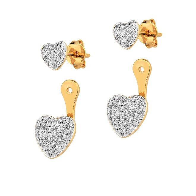 Brinco Ear Jacket Coração Folheado a Ouro 18k com Zircônias - New Bijoux 0a5be9fa05