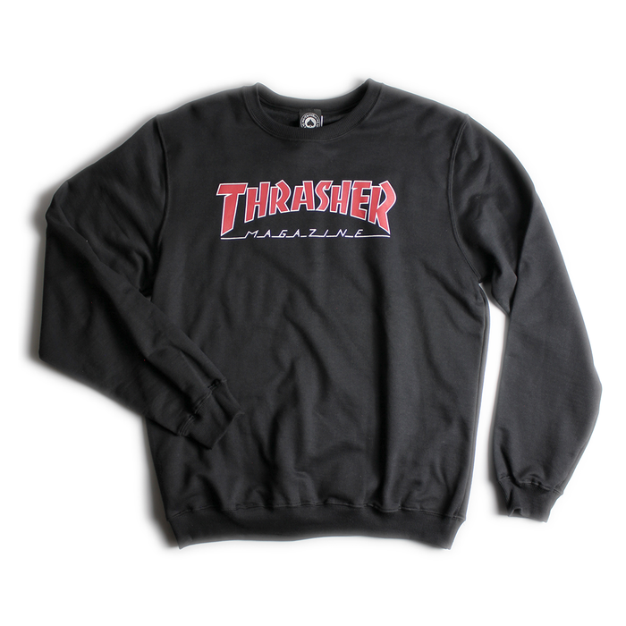 MOLETOM THRASHER OUTLINED CARECA BLACK