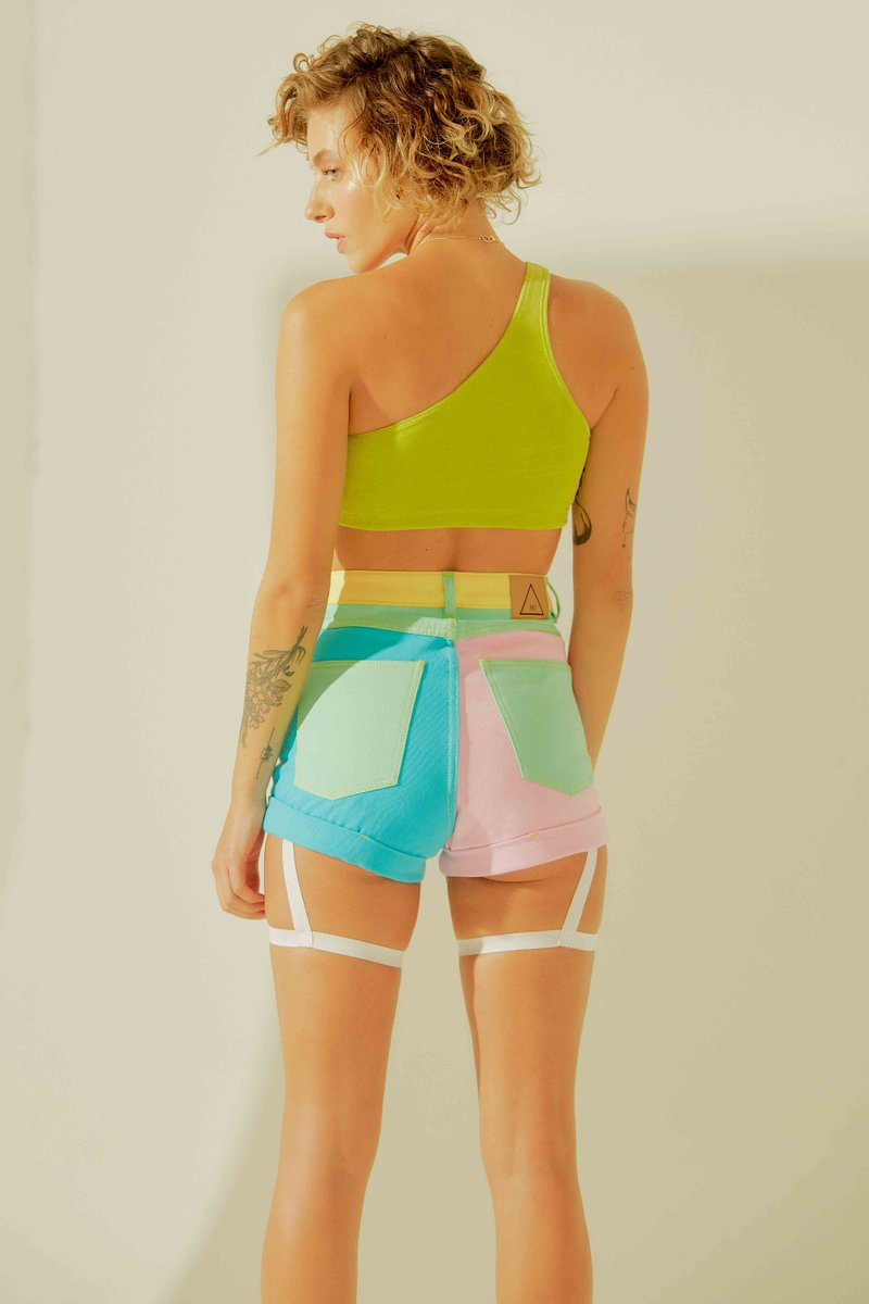 Short Jeans Colorblock Pastel