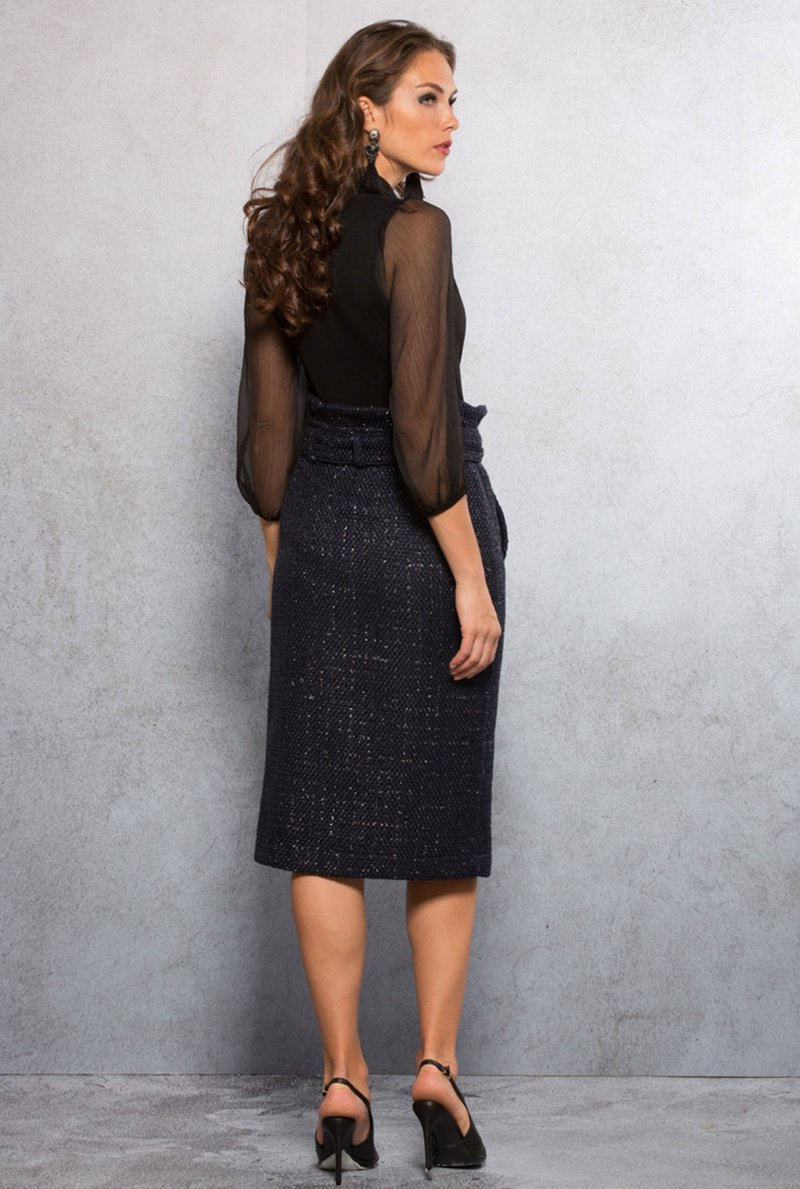 Saia Midi Tweed Blue Night