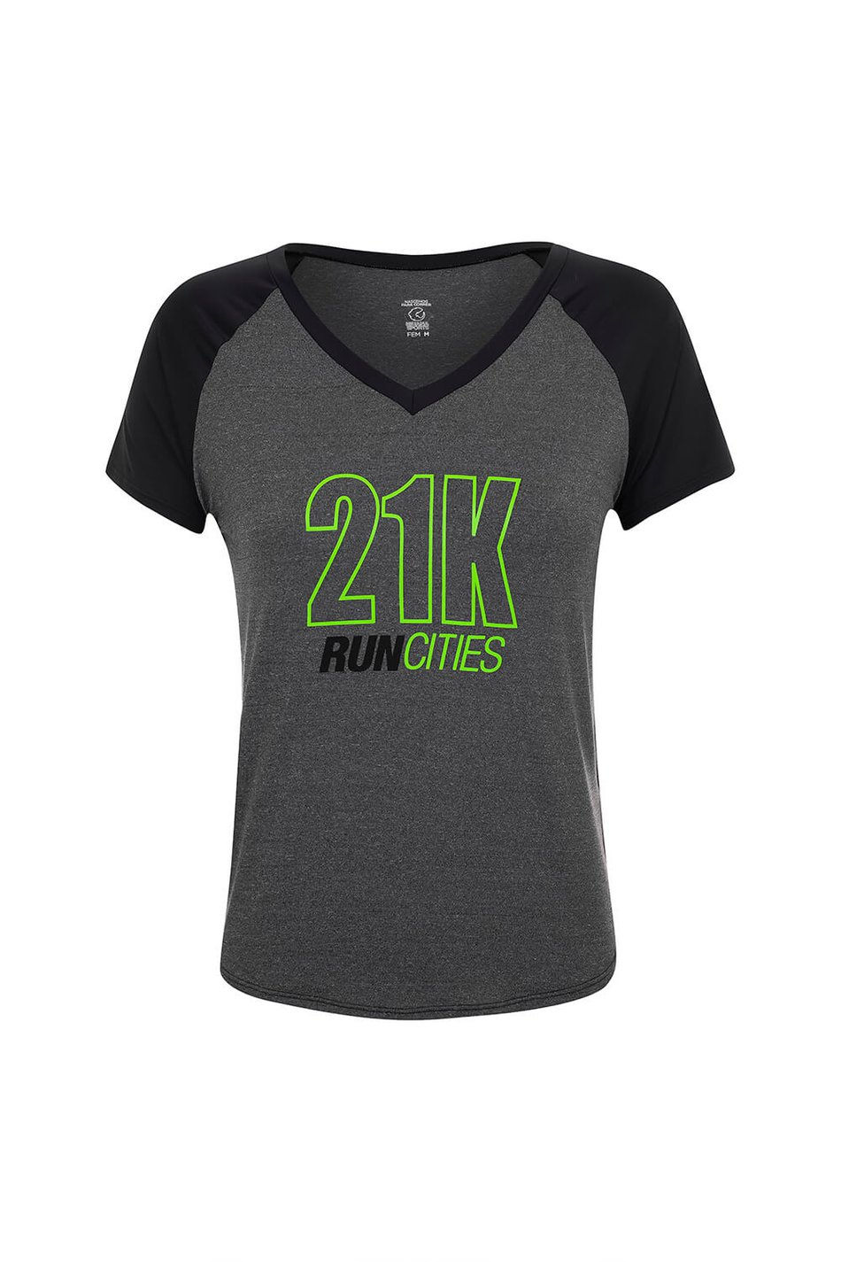 Camiseta 21k Run Cities Mescla e Preta Fem