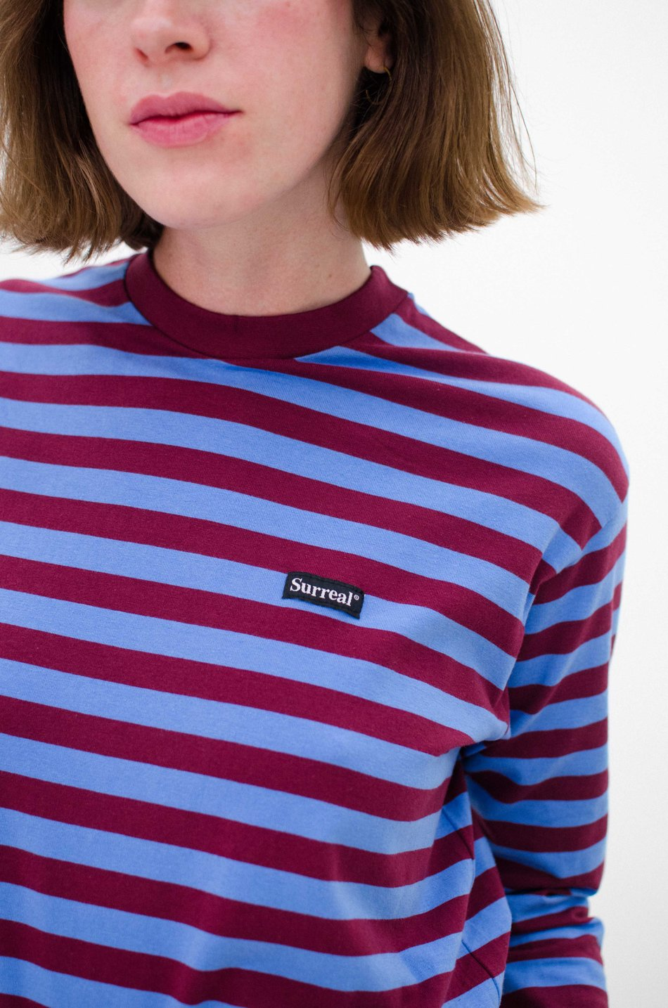 Long Sleeve Bordeaux Blue Stripes