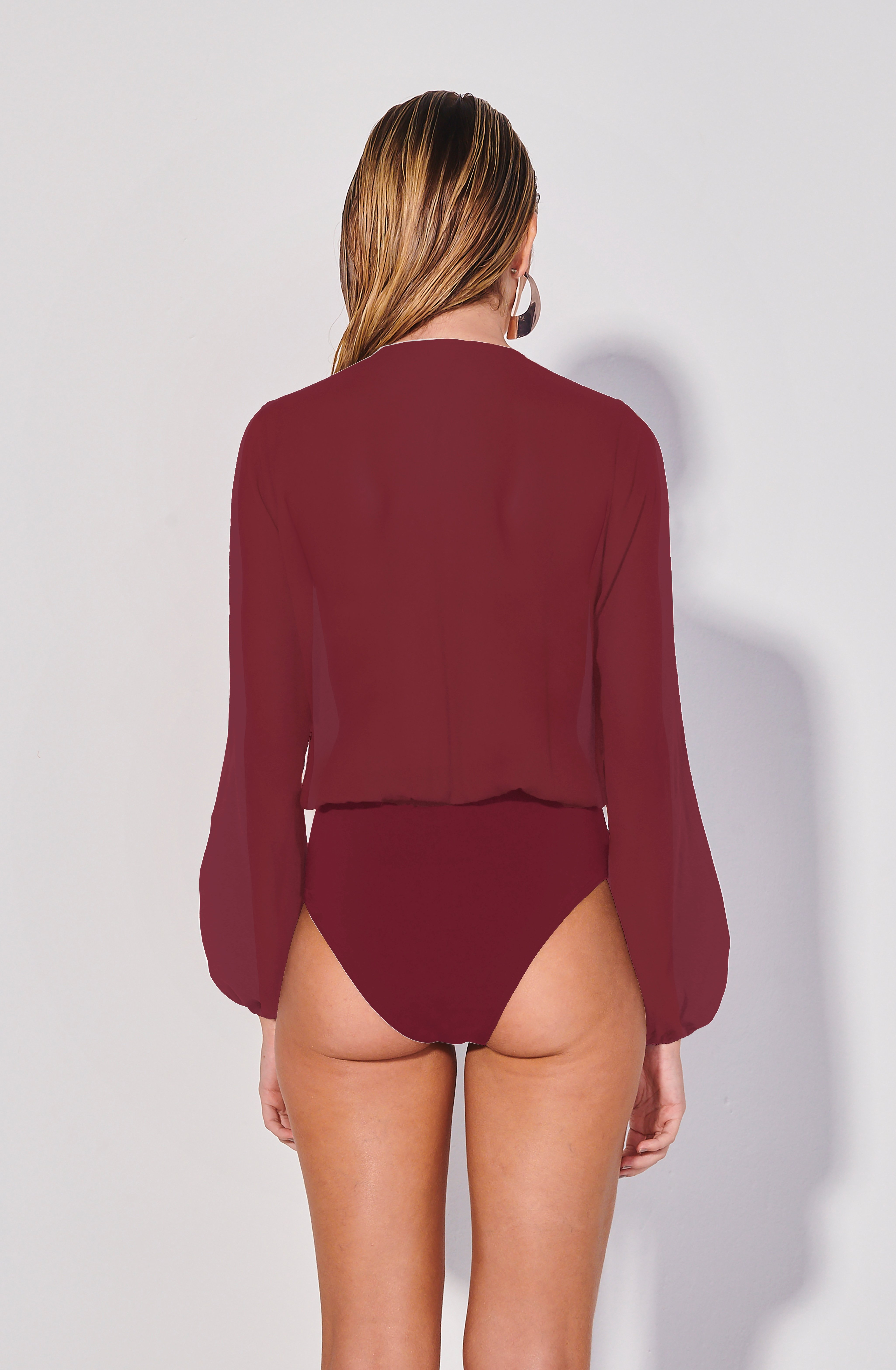 Body Camisa Alumi Vinho | Alumi Blouse One-Piece Burgundy