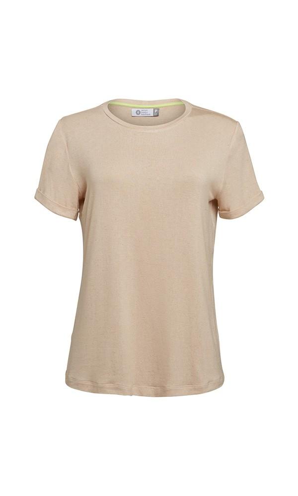 T-Shirt Gola Careca Linho - Nude