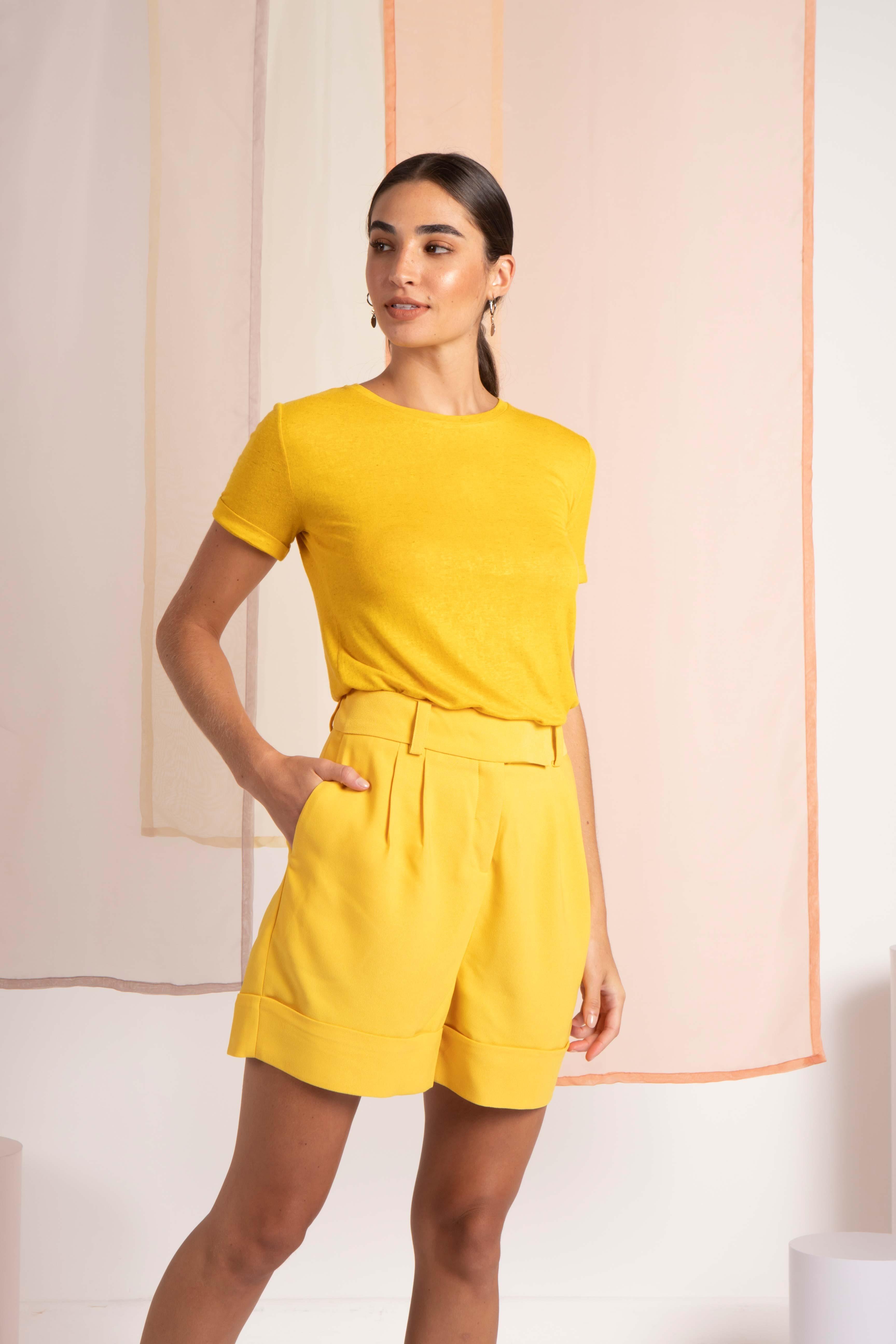 T-Shirt Gola Careca Linho - Amarelo Sunshine