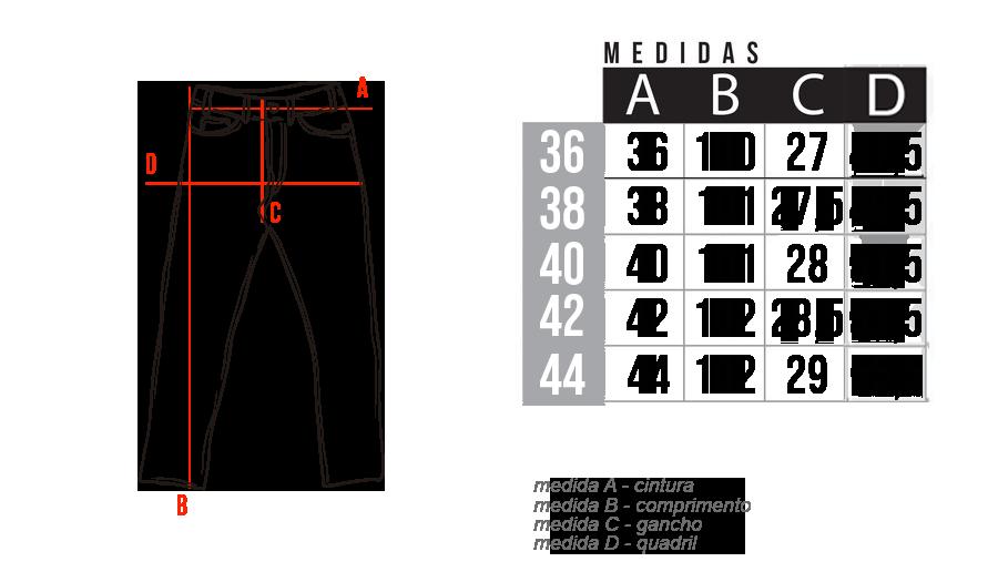 Medidas Calça de Veludo Masculina